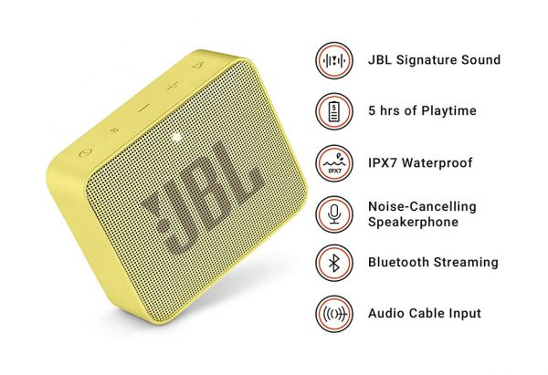Jbl Go 2 Portable Bluetooth Speaker With Microphone Memory Card Slot Compatible With Mobile And Computer Yellow Color Emix